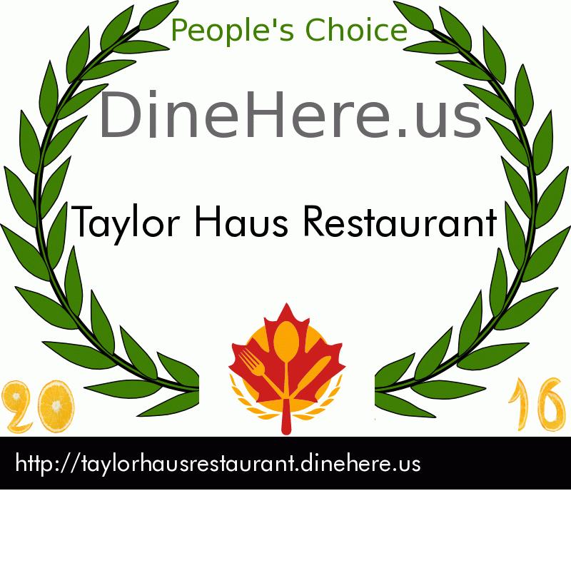 Taylor Haus Restaurant DineHere.us 2016 Award Winner